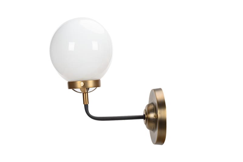 Kinkiet Lampa Ścienna MORED 1 Złota Mleczne Szkło