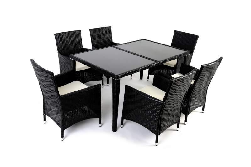 Komplet Mebli MYWARD Z Technorattanu Stół + 6 Krzeseł